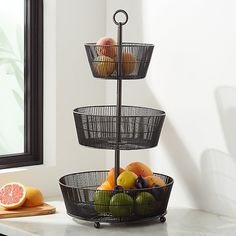 Corral your clementines and elevate your lychees with this three-tiered basket handcrafted of iron and finished in sophisticated graphite. Produce Baskets, Produce Storage, Fruit Storage, Diy Outdoor Kitchen, Diy Kitchen, Kitchen Decor, Kitchen Ideas, Kitchen Styling, Kitchen Inspiration