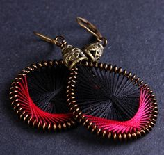 Black and strawberry thread earrings