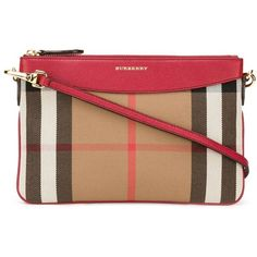 Burberry House check crossbody bag (5.623.380 IDR) ❤ liked on Polyvore featuring bags, handbags, shoulder bags, purses, red, handbags crossbody, leather handbags, leather cross body purse, burberry crossbody and leather crossbody purses