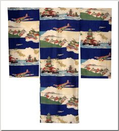 Boy's omiyamairi (christening robe) with battleships and tanks, silk, 1930's. Omiyamairi are still used to swaddle 30 day old infants for their naming day at Japanese Shinto shrines. The militaristic imagery on this beautifully made robe could only have been used during the run-up to WWII.  Norman Brosterman Propaganda Kimono Collection.