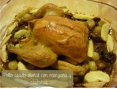 Pollo asado con manzana y castañas