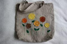 Crochet Yellow Flowers Tote Bag £15.50