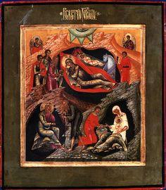Nativity of the twentieth century.  Mstera Wood, gesso, tempera.  35,5h31,3 see.