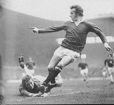 March Manchester United inside forward Denis Law skips around Everton goalkeeper Gordon West but his shot goes wide, at Old Trafford. Denis Law, 8th March, Manchester United Players, Vintage Football, West Ham, Old Trafford, Man United, Everton, Big Men