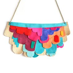 Neon Scalloped Necklace Color Block Leather Bib Necklace Geometric Jewelry. $88.00, via Etsy.