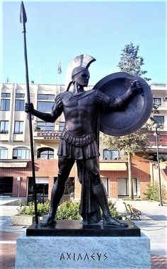 Statue recently dedicated in Thessaly to her favorite son, the ancient #Greek hero, Achilles (Αχιλλέας) Photo: Pavlos Papadopoulos