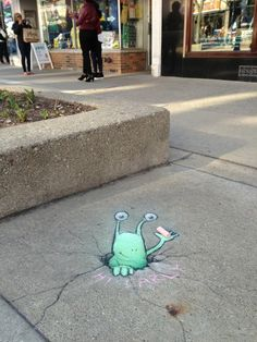 David Zinn Sluggo chalk street art