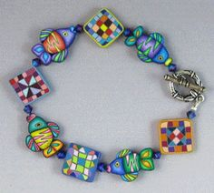 Polymer clay caned bracelet by Kim Korriga Designs