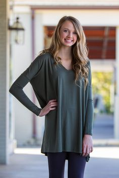 The Perfect Piko V-Neck Tunic Top-Army