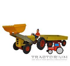 Kellermann 445A Traktor mit Schaufellader und Anhänger ca. 1/32