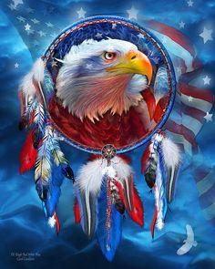 Dream Catcher - Eagle Red White Blue art by Carol Cavalaris.