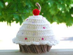Handmade Crochet Cupcake Beanie Hat for babies, kids and teens