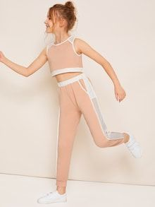 Girls Contrast Fishnet Detail Top & Side Striped Leggings Set - Girls Two Tone Zip Half Crop Top & Trousers Set Teenage Girl Outfits, Kids Outfits Girls, Cute Girl Outfits, Cute Outfits For Kids, Cute Summer Outfits, Cute Casual Outfits, Clothes For Kids, Work Outfits, Preteen Fashion