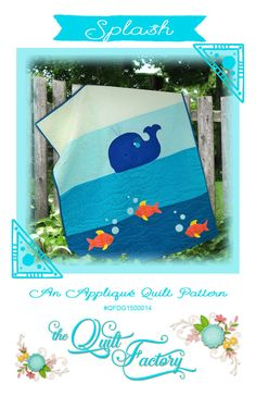 Splash! Fun modern baby quilt with adorable appliquéd whale and fish. Easy to follow instructions and templates included in the pattern along with a guide for big stitch style quilting with pearl cotton. ​This quilt was made with American Made Brand fabric 100% cotton solids.