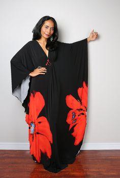 Black Floral Maxi Dress  Kaftan Kimono Butterfly Dress: by Nuichan