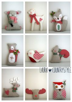 PDF Christmas tree ornament decorations-sewing easy pattern-reindeer-owl-fawn-bear-fox-robin-squirrel- special price A! linka kuchenmaedchen Weihnachten *THIS IS A PDF FILE AND … Felt Christmas, Diy Christmas Ornaments, Christmas Tree Decorations, Country Christmas, Christmas Sewing Gifts, Burlap Christmas, Reindeer Christmas, Christmas Fabric, Christmas Movies