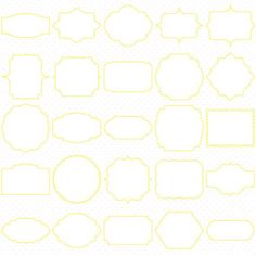 Yellow Classic Digital Frames, Basic Frames, Digital Clipart, Digital Download, Clipart Frame, Frames Clipart, Digital Labels.