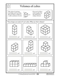 Find the volume of these cubes! This math worksheet shows your child how to calculate cubic volume, then gives your child a series of shapes to practice finding volume. Grade 5 Math Worksheets, Volume Worksheets, Math Resources, Cubes Math, Math Lab, Fifth Grade Math, Math Measurement, Math Test, Teaching Math