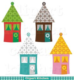 Colourful Houses Digital Clipart Set by ClipartKitchen