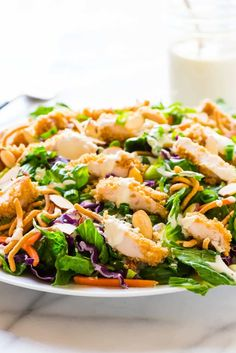 A healthy copycat version of Applebee's Oriental Chicken Salad that's just as good as the original for a fraction of the calories!