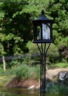 Solar Lantern Clear Glass Tiki Torch
