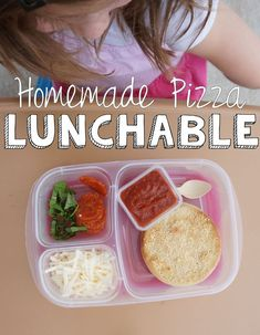 How to make Homemade Pizza Lunchables. LOTS of topping ideas!  Packed with #EasyLunchboxes