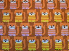PUSSY CATS vintage scandinavian fabric