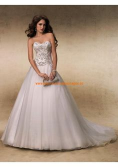 2013 Romantische Brautkleider elegant aus Satin und Tüll mit Applikation