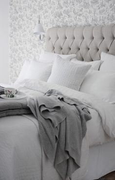 White+gray - love the buttoned headboard
