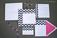 Chevron Wedding Invitation Suite Sample  Navy von SarahCoatsDesigns, $6.49