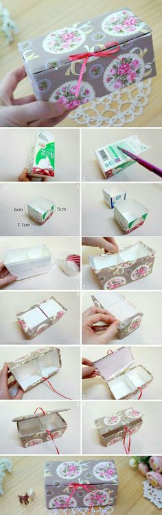 Fabric Box Tutorial is part of Fabric boxes - DIY Upcycled Milk Carton Storage Box Tutorial in Pictures Fabric Boxes Tutorial, Diy Tutorial, Decoupage Tutorial, Diy Storage Boxes, Craft Storage, Storage Ideas, Fabric Storage, Milk Carton Crafts, Easy Crafts