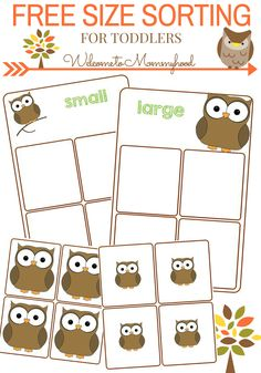 Owl Size Sorting Printable (free; from Welcome to Mommyhood)