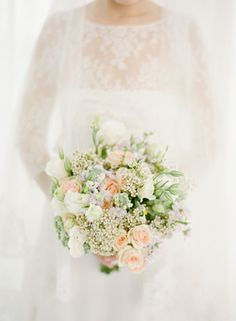 Soft white and peach bouquet