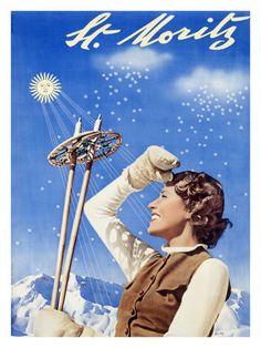 St. Moritz, Ski Poster, 1937 - Walter Herdeg