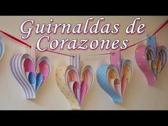 Manualidades: Decoración de fiestas - 2 guirnaldas de corazones [Fáciles] - Manualidades para todos - YouTube