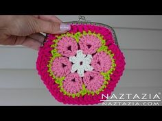 DIY Learn How To Crochet African Flower Granny Hexagon Coin Change Purse with Snap Frame