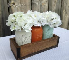 Mason Jar & Wood Crate Centerpiece Arrangement (12 Colors Available)