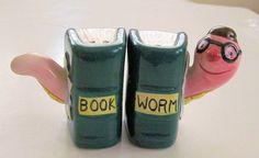 FUN BOOKWORM Vintage Ceramic Salt & Pepper by TextilesandOldThings, $23.00