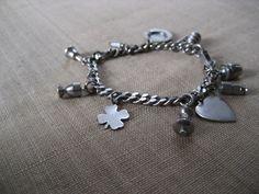 Vintage Charm Bracelet / lucky clover / heart / by RefugeHeart,