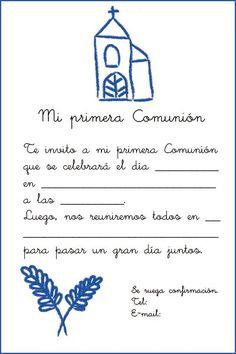 Invitación con una iglesia y espigas para imprimir gratis First Communion, Cardmaking, Printables, Scrapbook, Invitations, Crafts, Party, Roman, Diy