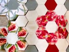 Create a patchwork quilt using large hexagons.  Part 1.  Demonstration.