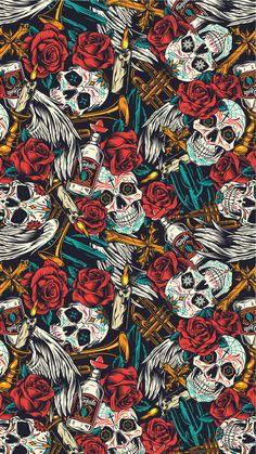 Day Of The Dead Skull pattern | Wallpaper with skulls