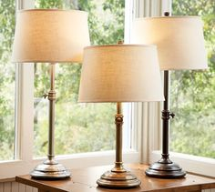 Chelsea Bedside Lamp in Antique Brass with linen shade from Pottery Barn