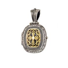 Locket Pendant in Gold and Sterling Silver Byzantine, Pocket Watch, 18k Gold, Gems, Pendants, Sterling Silver, Handmade, Accessories, Jewelry