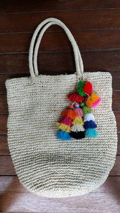 Raffia beach bag with large multi tassel beach tote by EllennJames