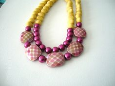 Yellow pink statement necklace on Etsy, $42.00