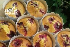 10 Minuets : How to make Cherry Muffin Recipe? people in the book of . Muffin Recipes, Baby Food Recipes, No Bake Desserts, Dessert Recipes, Easy Cooking, Cooking Recipes, Cherry Muffins, Pasta Cake, Turkish Recipes