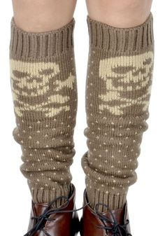 "Simplicity Skull Crossbone Leg Warmers/Acrylic/Knitted/Warm Stretch Fit, Khaki. Comfortable, acrylic stretch fibers. Size: 6.45"" Length. Ribbed trim/top and bottom. Large skull w/ tiny hearts pattern. Hand wash cold or warm, lay flat to dry."