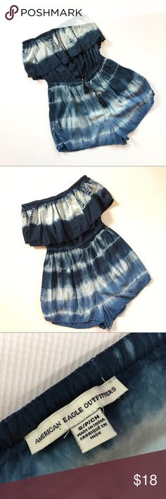 AEO Romper American Eagle strapless romper in a tie dye pattern. Ruffled top with tassels.  ◽️Excellent pre-loved condition ◽️Smoke free/Pet free   T-OI-4.17 American Eagle Outfitters Other