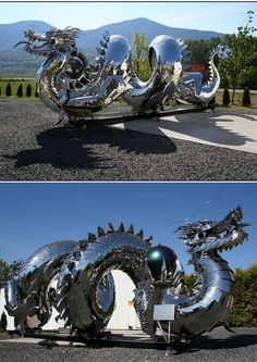 The Fabulous Weird Trotters June 17 stainless steel dragon sculpture by Kevin Stone Dragon Statue, Dragon Art, Magical Creatures, Fantasy Creatures, Breathing Fire, Imperial Dragon, Dragon Dreaming, Instalation Art, Dragons